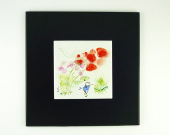Painting on Porcelain Stoneware Tile, Morpho Bleu Illustration,Enamel Painting, Red, Flowers,For Dreamers and Poets