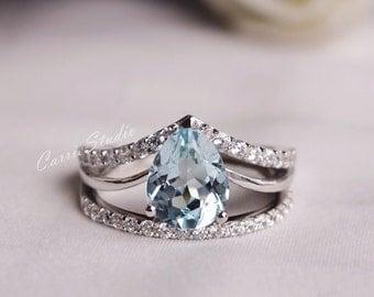 Natural Aquamarine Ring Set Aquamarine Engagement Ring Set with Fabulous Aquamarine Stone Wedding Ring Set  Anniversary Ring Promise Ring