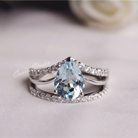 natural aquamarine ring set aquamarine engagement ring set. Black Bedroom Furniture Sets. Home Design Ideas