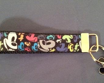 1 Inch Wide Mickey Mouse  Grosgrain Pattern Key Fob