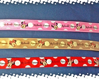 3/4 Wide Custom Made Minnie Mouse Pick Your Color Dog Collar