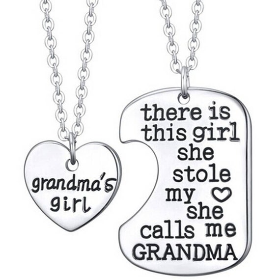 2pc Grandma And Granddaughter Necklace By Littlepuffinsnl