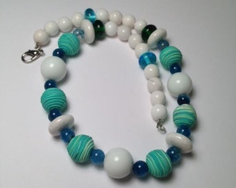 Polymer clay beads, White porcelain Rondell beads and white round beads, Glass Beads, Necklace