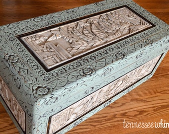 Milk-Painted Carved Trunk