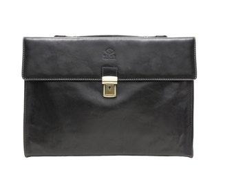 Leather schoulder bag, Leather Laptop Bag, Messenger bag, Leather Men and Women,black leather briefcase - Moonheart