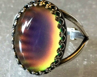 STERLING Silver 925 MOOD RING Large Oval  Crown Colorful Aurora Rainbow Adjustable Band Jewelry