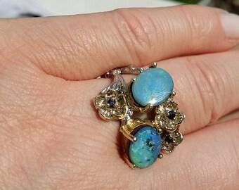 Natural Boulder Opal Ring in Sterling Silver 925