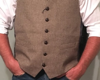Mens Brown Tweed Vest