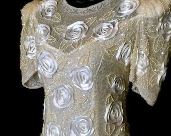 80's Silk and Satin Ribbon Floral Wedding Dress       VG225