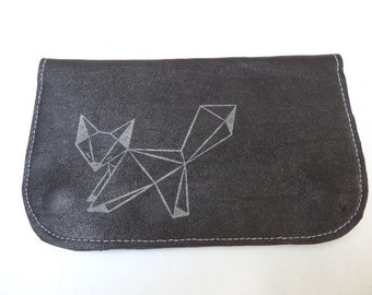 Tobacco leather and origami Fox print