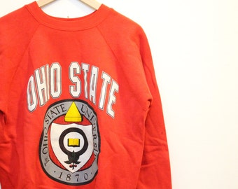 Vintage Ohio State Crewneck Sweatshirt / Vintage OSU Sweatshirt 90s Ohio State University / Distressed Crewneck
