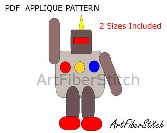 Sir Robot PDF Applique Template Pattern - available for instant download from ArtFiberStitch