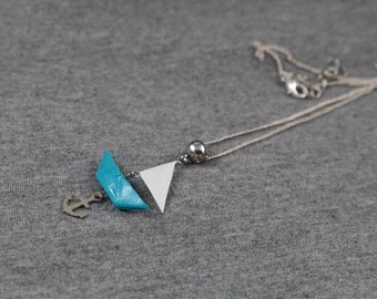 Necklace origami - turquoise sail boat - Origami - Japanese paper