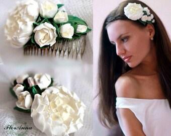 peony comb, flower comb, bride comb, peonies, gift for girl, bridesmaids comb, white comb, bridesmaids gift, peony hairpice