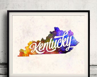 Kentucky - Map in watercolor - Fine Art Print Glicee Poster Decor Home Gift Illustration Wall Art USA Colorful - SKU 1768