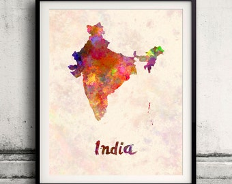 India - Map in watercolor - Fine Art Print Glicee Poster Decor Home Gift Illustration Wall Art Countries Colorful - SKU 1816