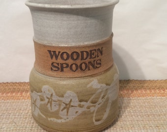 80's Style Stoneware pottery-Wooden Spoon holder