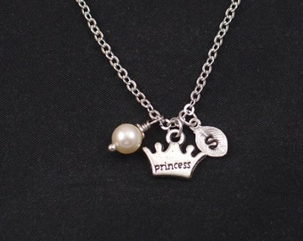 tiny princess crown necklace, initial necklace, Swarovski pearl choice, silver crown charm, monarchy, queen, princess jewelry, gift for her
