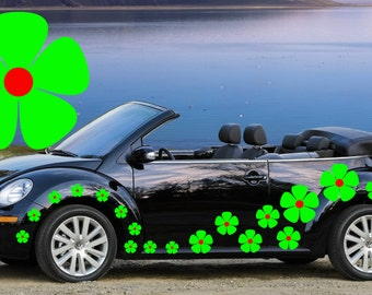 32,green & red pansy flowers car decals,stickers in three sizes