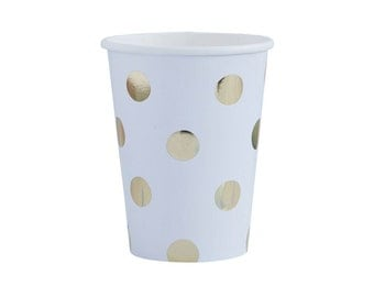 Paper Cups | Goil Foil Polka Dot Cups | White and Gold Paper Cups | Party Cups | Gold Party Cups | 8 Per Pack | Gold | Party Cups | Cups