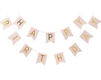 Bunting | Happy Birthday Bunting | Pink Bunting | Gold Foil Bunting | Birthday Party | Pink | 2.5m long | Party Bunting | Birthday Bunting