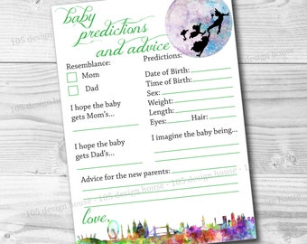 INSTANT DOWNLOAD Peter Pan Baby Prediction and Advice Shower Game Printable - Peter Pan Baby Shower Game - Peter Pan Baby Shower Printable