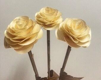 Wooden Roses: One Dozen