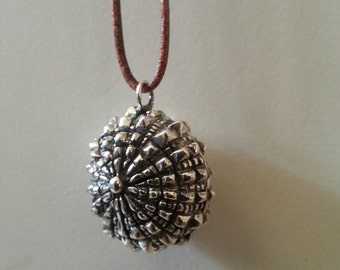 Sterling silver Seashell pendant with oxidized details