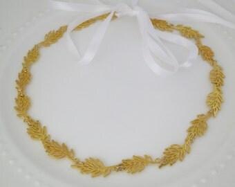 Gold leaf headpiece, Bridal halo, Wedding hairpiece