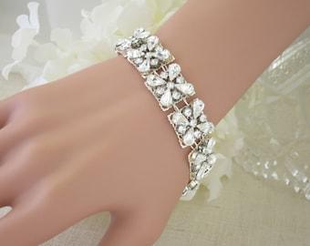 Crystal bridal cuff, Swarovski rhinestone wedding bracelet, Statement bridal bracelet