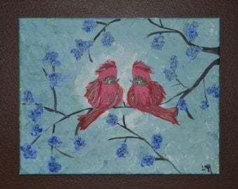 Kissing Red Birds