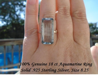 100% Genuine 18 ct Emerald Cut Aquamarine Ring