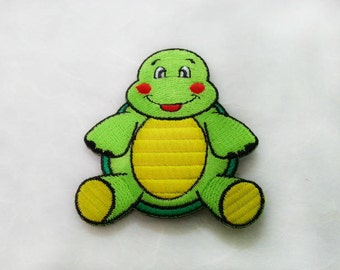 Turtle Cartoon Iron on Patch(L1) - Turtle Cartoon Applique Embroidered Iron on Patch - Size 6.0x7.0 cm#C2