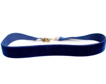 Navy Blue Velvet Choker