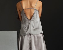 Clearance Sale - Camisole - Loose Fit Top - V Neck Top - Open Back Top - Silver top - Spaghetti Straps Top - Camisole Top - Satin Camisole -