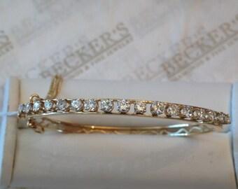 Antique 14k yellow gold 17 Round Diamond Prong Set Filigree Bangle Bracelet, 1.89 tw, JK-I1