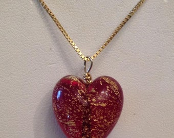 "Vintage 14k yellow gold Venetian Murano Red & Gold Glass Heart Pendant on a 20"" Box Chain"