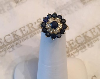 Vintage 14k yellow gold Sapphire & Diamond 3 Row Tall Halo Cathedral Ring, 1.56 tw J-I1, size 5.5