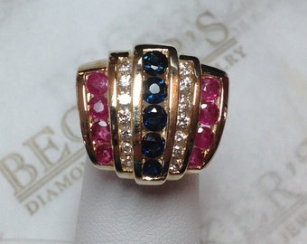 Vintage 14k yellow gold 5 Row Tiered Slide Pendant with Round Diamonds, Rubies & Sapphires 1.73 tw IJ-I1
