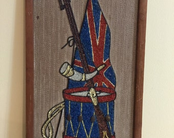 Pebble Art Wallhanging|Gravel Mosaic | Patriotic Motif | Mid Century Craft | Completed Kit | Flag and Drum | Ready to Hang | Gift for Him |