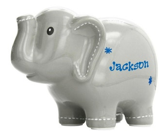 Personalized Gray Elephant Piggy Bank - Boy