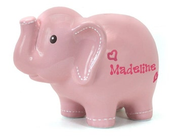 Personalized Elephant Piggy Bank - Pink