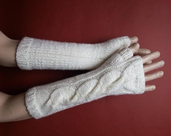 EXPRESS SHİPPİNG!Ecru Color Hand-Knitted Fingerless Gloves/Winter Accessories/ReyyanCrochet