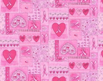 Breast Cancer Awareness Fabric - Pink Ribbon Fabric / Breast Cancer Words on Pink / Timeless Treasures C1766 / Fat Quarter / Yardage