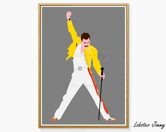 Freddie Mercury Wall Poster, Printable Art, Rock Legends, The Queen, Rock Music Decoration