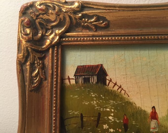 Vintage Gold Framed Painting Mother Child in a Meadow