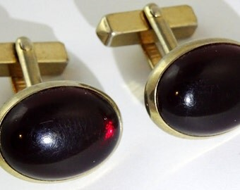 SWANK Vintage Cufflinks Red Oval Cabochon Gold Tone Angled 1950s Cuff Links
