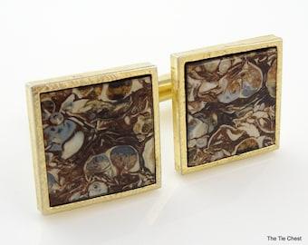 Vintage Cufflinks Unique and Different Brown Swirl Pattern