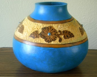Faux Leather Gourd Vase