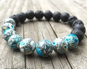 Stackable Funky Chunky 10 mm Essential Oil Diffuser Lava + Mosaic Turquoise Bead Yoga and Meditation Bracelet